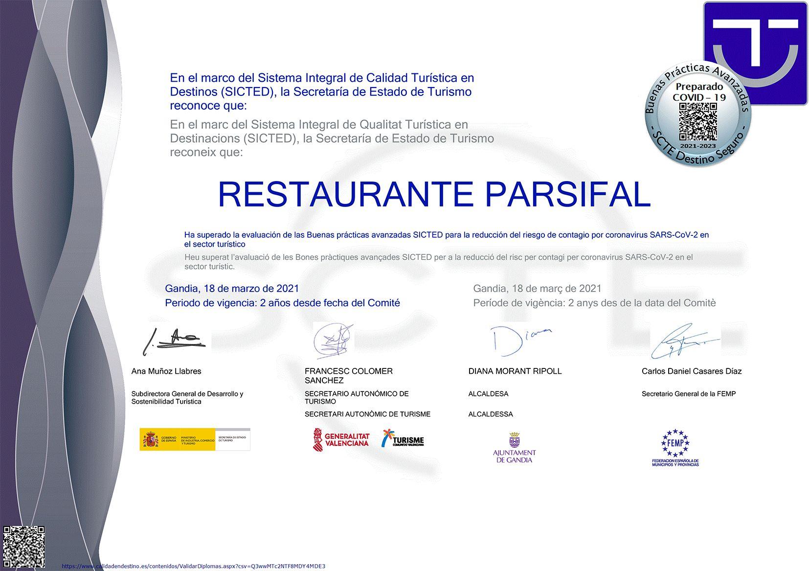 Covid buenas practicas restaurante parsifal